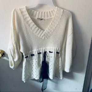 Chloe White Batwing V neck Sweater